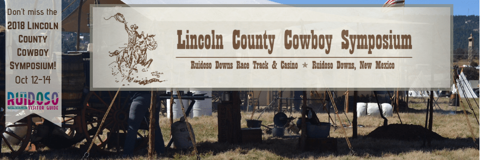 Advertisement for Lincoln County Cowboy Symposium campsite set up at event in background oct 12-14