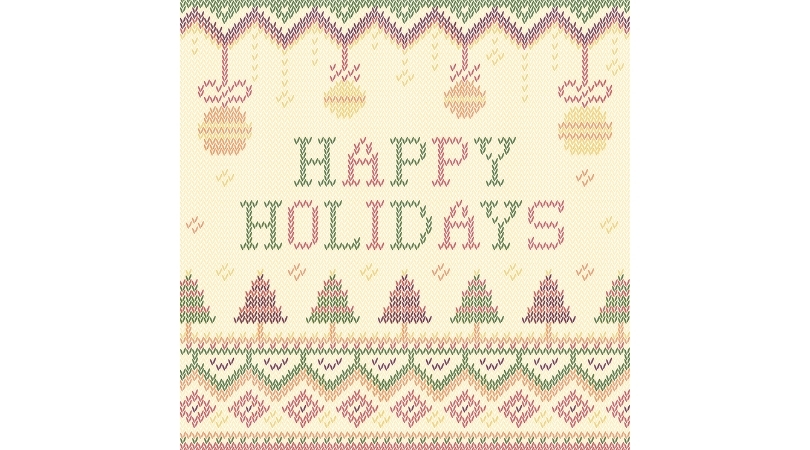 crocheted image that says happy holidays, ornaments at top and trees on bottom with festive chevron design